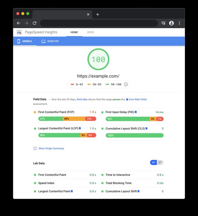 CLS berekenen aan de hand van Google PageSpeed Insights.