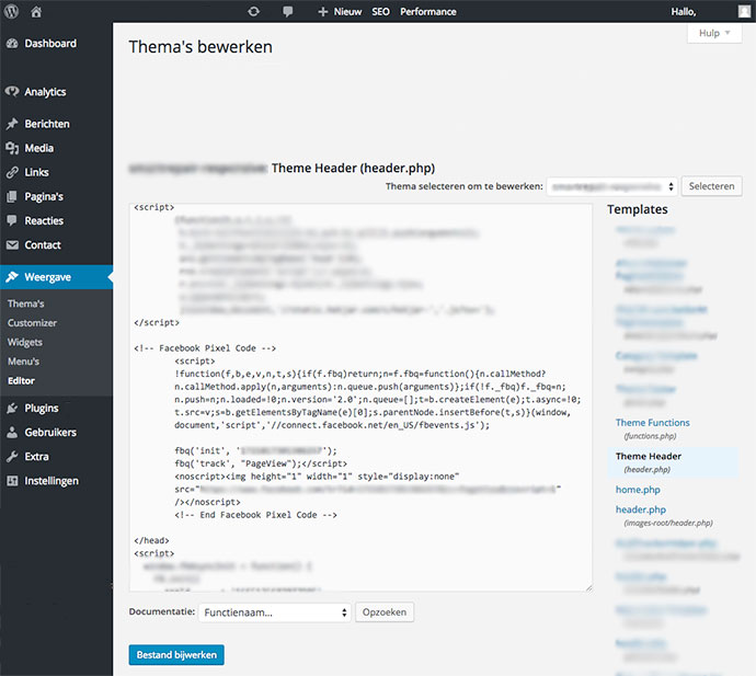 De Facebook pixel code installeren op WordPress via de Editor.