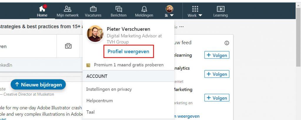 Ga naar je LinkedIn profiel en klik op profiel weergeven?