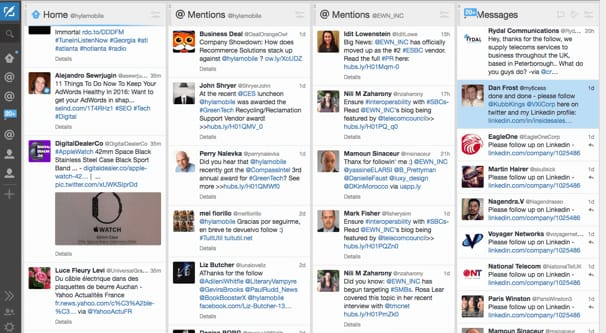 Het dashboard van het TweetDeck social media monitoring tool.