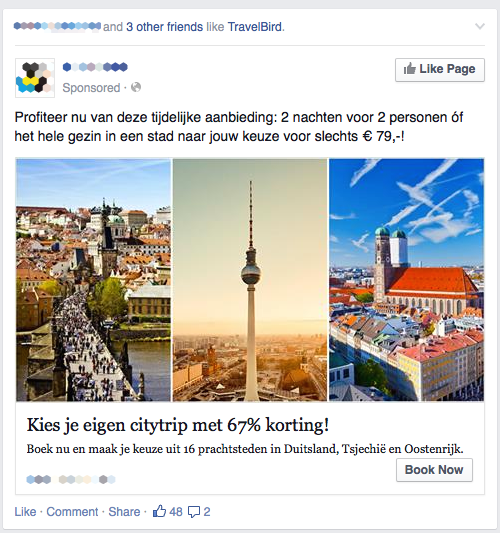 Het standaard formaat van een Facebook ad is 1200 x 628 pixels. De afmetingen kunnen echter wel geschaald worden naargelang de plaatsing van de advertentie.