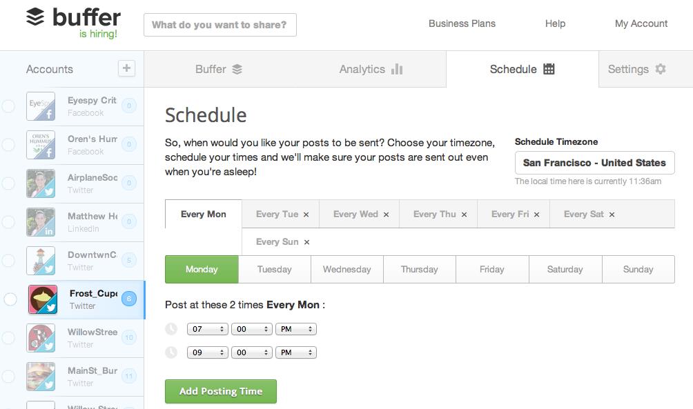 Het strakke design van het Buffer social media dashboard tool.