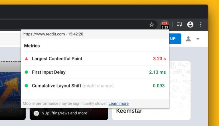 Chrome Extensie die je kan gebruiken om de CLS score te meten.