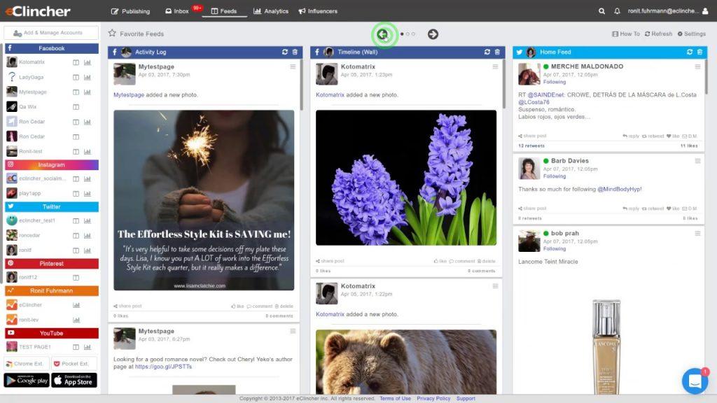 Het e-clincher social media dashboard.