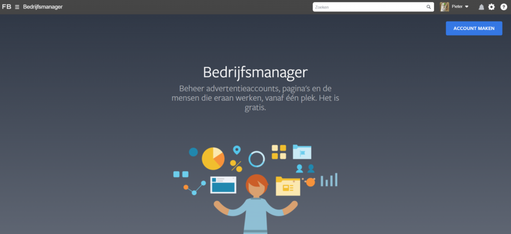 Klik op account aanmaken om een Facebook Business Manager account aan te maken.