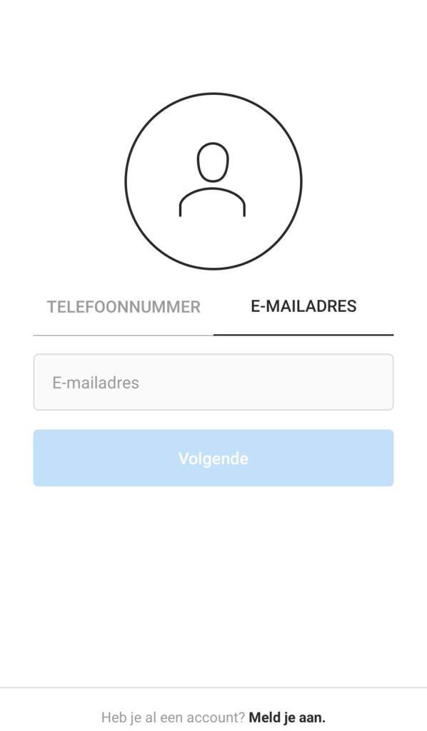 Een Instagram account aanmaken in de Android app.
