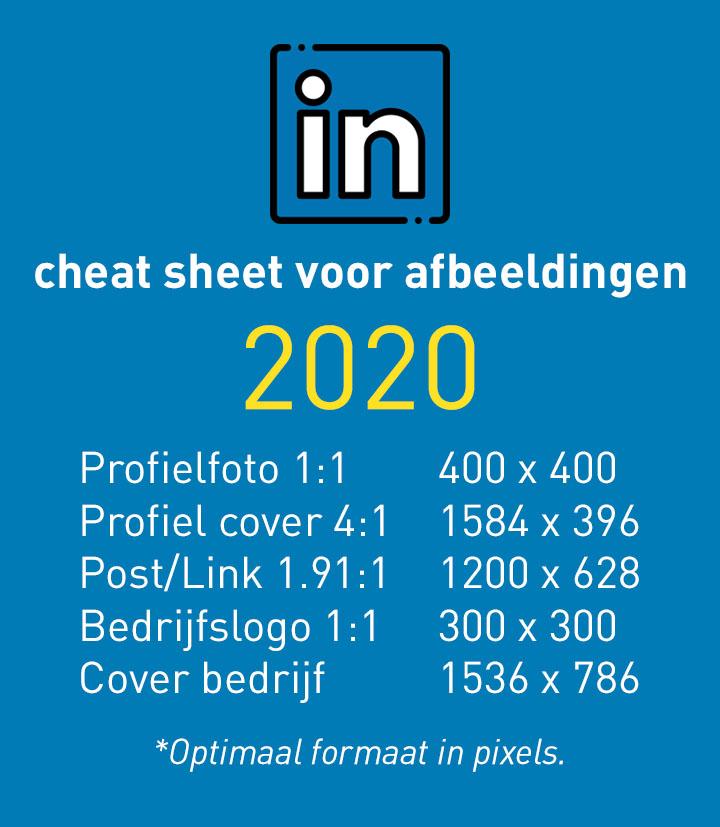 Cheat sheet voor Linkedin afmetingen in 2020: van post, persoonlijk profiel en bedrijfspagina.