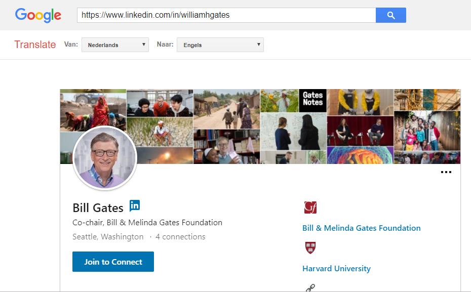 Het LinkedIn profiel van Bill Gates kan je anoniem bekijken in Google Translate, zonder dat je moet inloggen.
