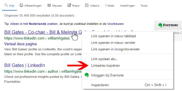 Kopieer de URL van het LinkedIn profiel.
