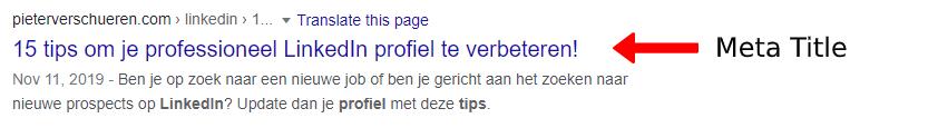De meta title in de Google zoekresultaten.