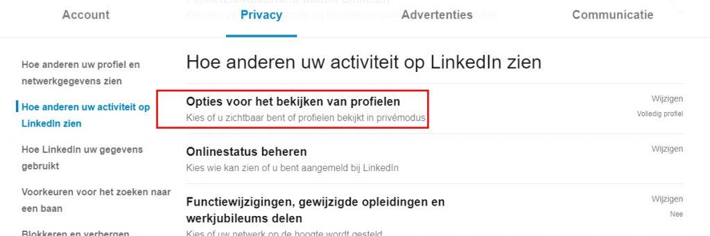 Selecteer opties voor het bekijken van LinkedIn profielen.