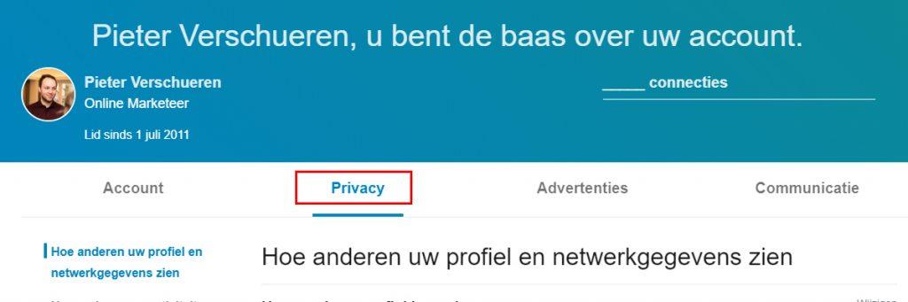 Selecteer het tabblad Privacy in de instellingen van je LinkedIn profiel