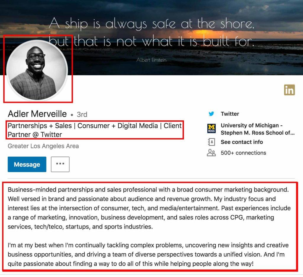 Een voorbeeld van een LinkedIn profiel met een professionele foto, een goede heading en een beknopte samenvatting.