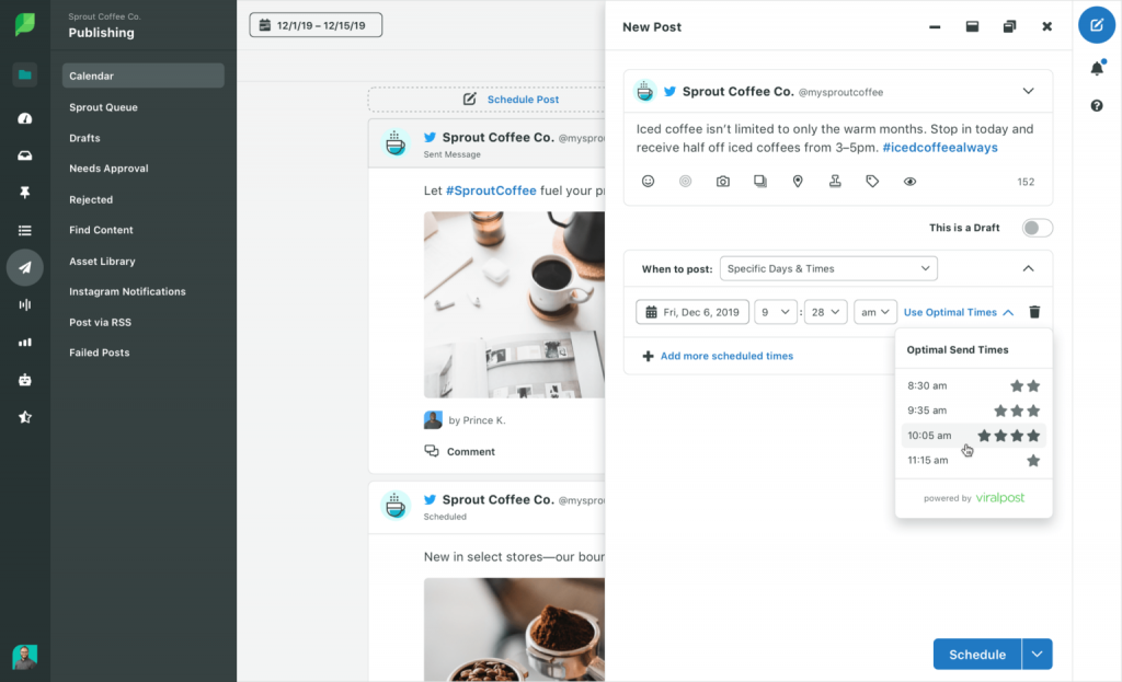 Wanneer posten op Instagram? Dit geeft Sprout Social zelf aan op basis van de interactie van je gebruikers.