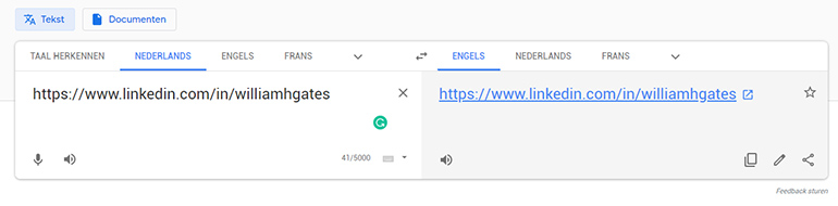 Plak de URL van het LinkedIn profiel in Google Translate.