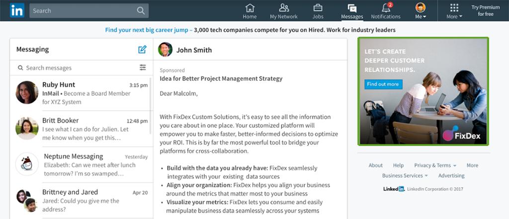 Voorbeeld van berichten advertenties in LinkedIn
