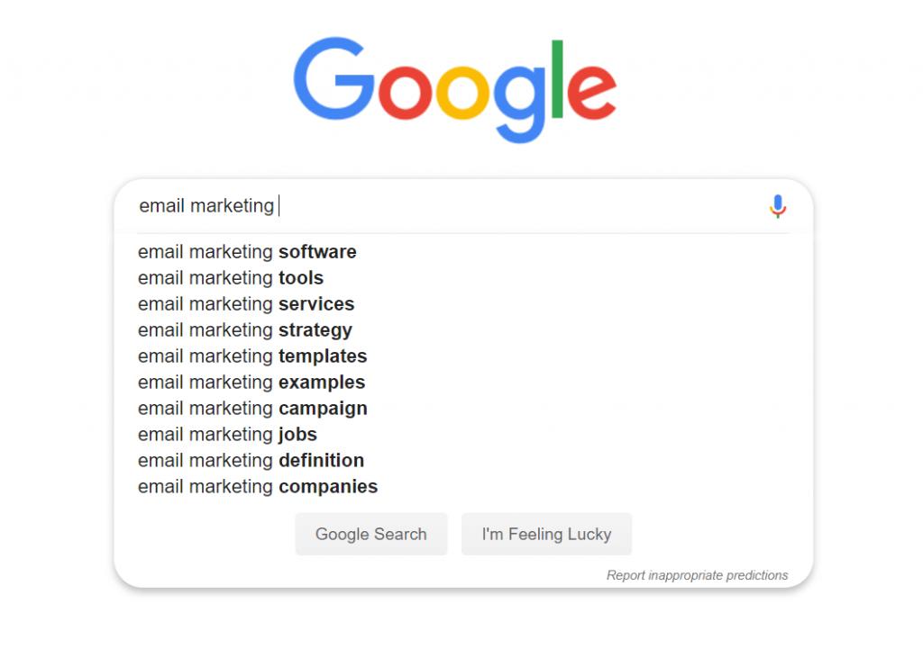 Google suggesties voor zoekwoorden onderzoek.