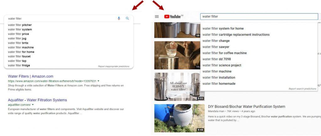Google autocomplete geeft andere suggesties in vergelijking met YouTube autocomplete.
