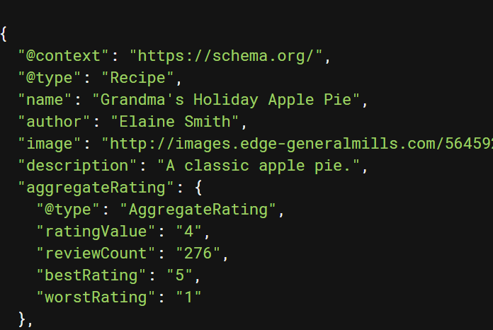 Voorbeeld van structured data code op een recepten website.