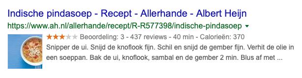 Voorbeeld van een recepten rich snippet in de organische zoekresultaten van Google. Je kunt de rich snippet herkennen aan de 5 sterren. Verder is ook de bereidingstijd en het aantal calorieën zichtbaar in de SERPs.