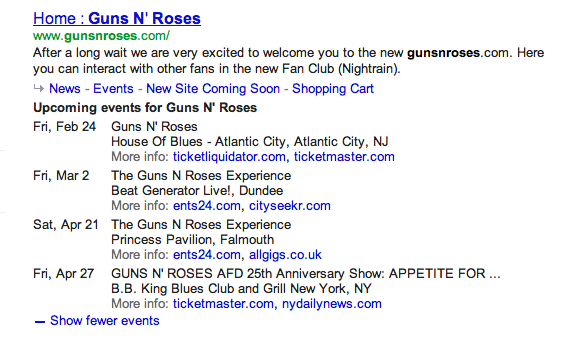 Voorbeeld van een event rich snippet van Guns N' Roses.